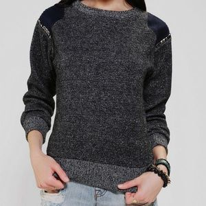 Lucca Couture Elbow Patch Studded Sweater Small